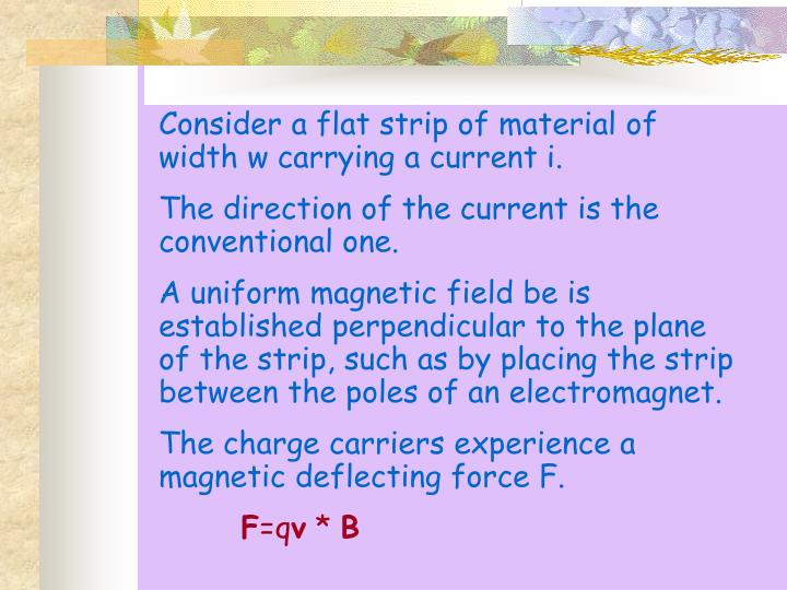 Consider a flat strip of material of width w carrying a current i.