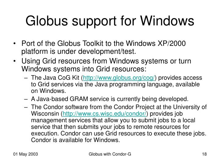 Globus support for Windows