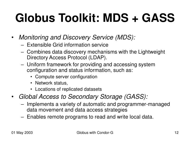 Globus Toolkit: MDS + GASS