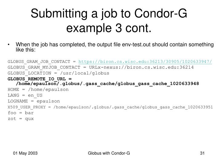 Submitting a job to Condor-G example 3 cont.