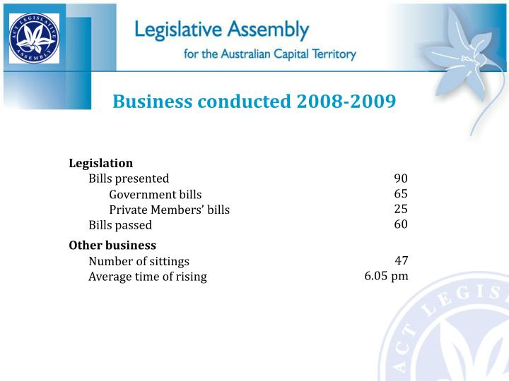 Business conducted 2008-2009