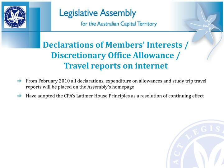 Declarations of Members' Interests /