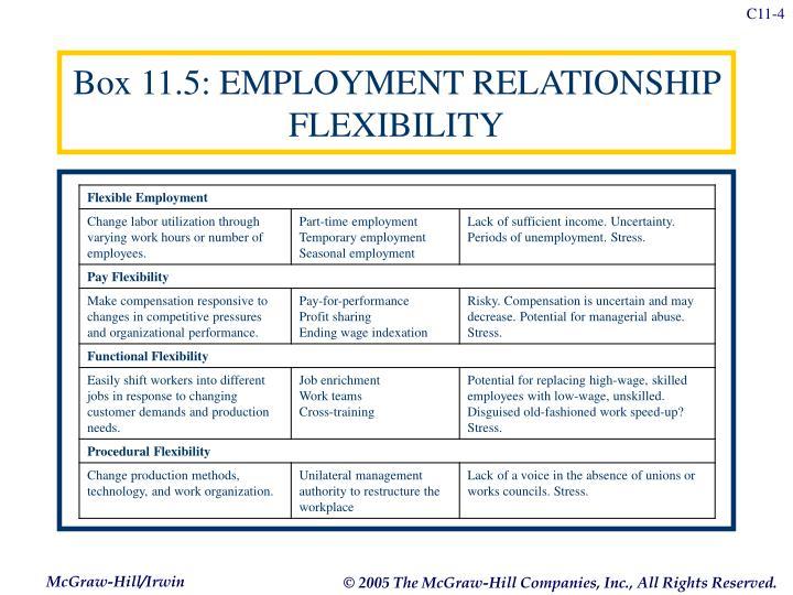 Box 11.5: EMPLOYMENT RELATIONSHIP FLEXIBILITY