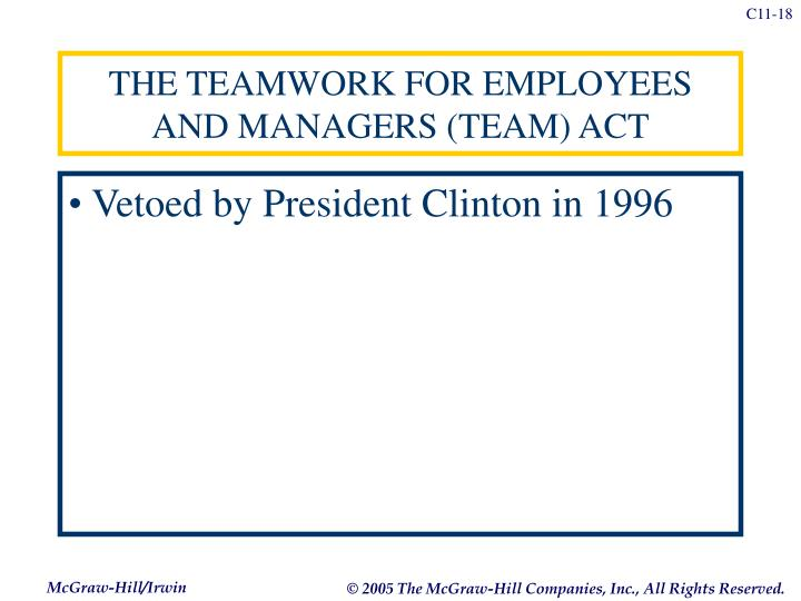 THE TEAMWORK FOR EMPLOYEES AND MANAGERS (TEAM) ACT