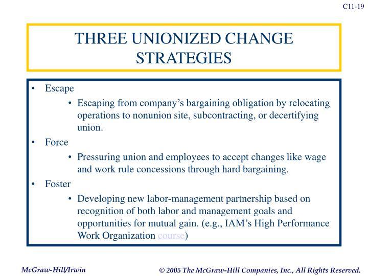 THREE UNIONIZED CHANGE STRATEGIES