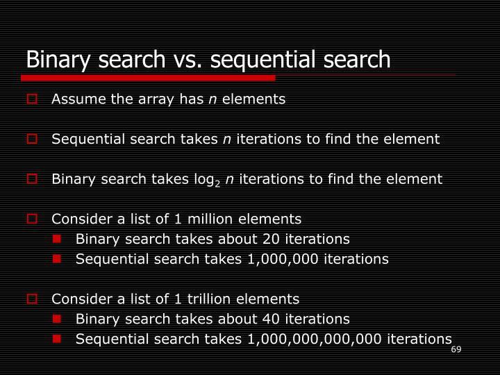 Binary search vs. sequential search