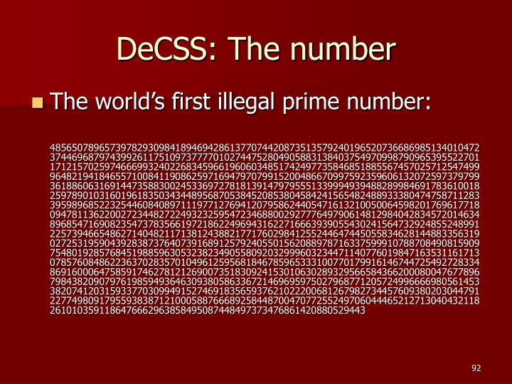 DeCSS: The number