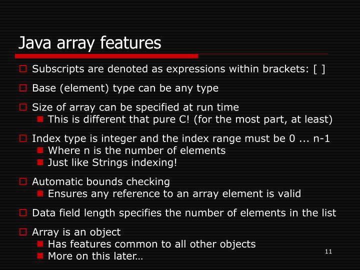 Java array features