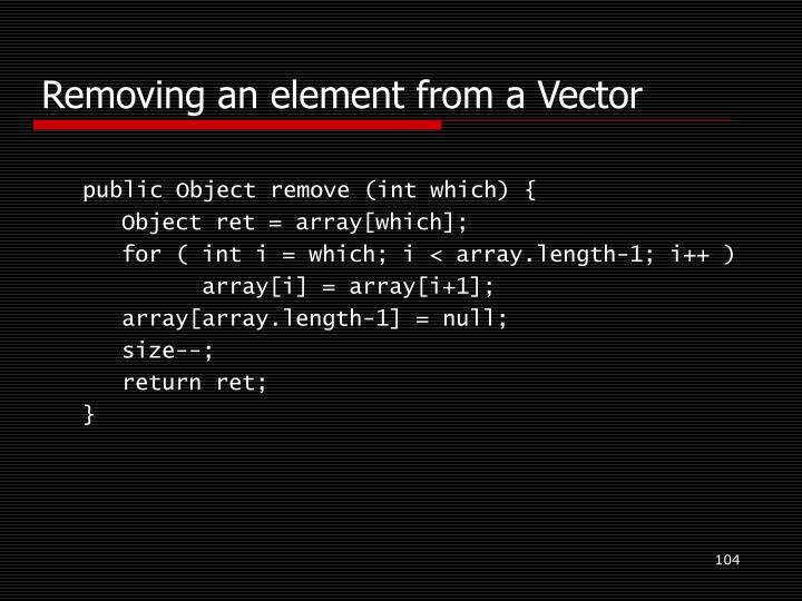 Removing an element from a Vector
