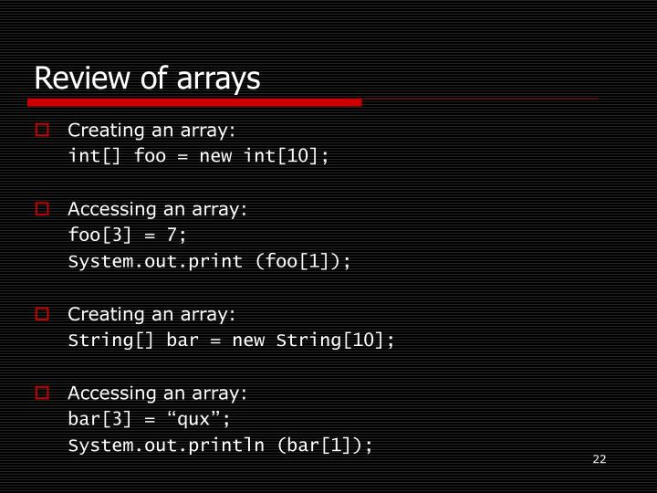 Review of arrays