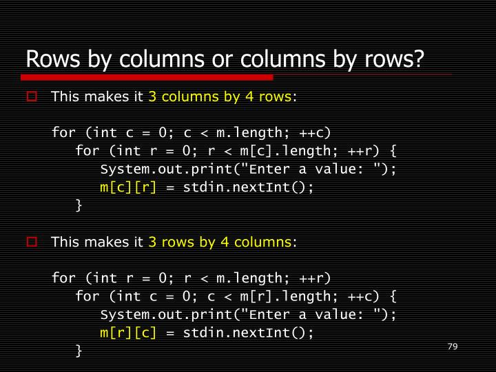 Rows by columns or columns by rows?
