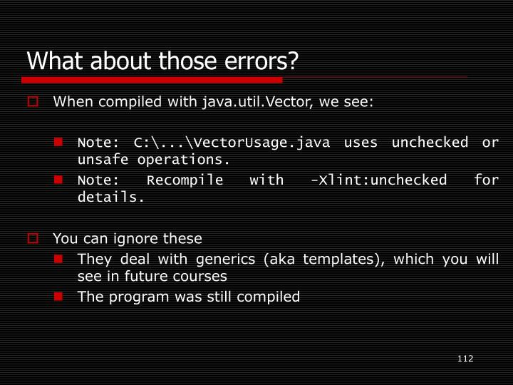 What about those errors?