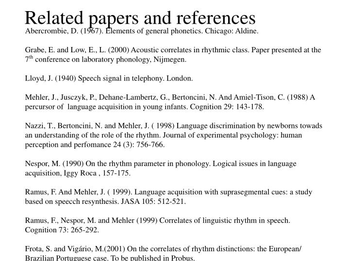 Related papers and references