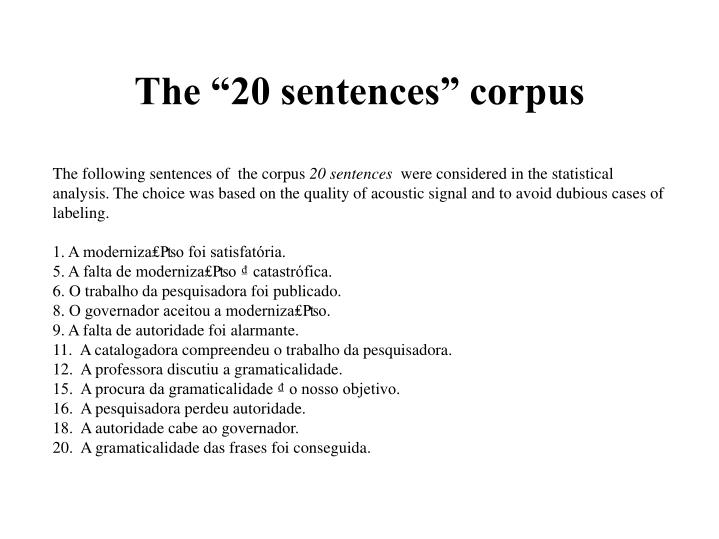 "The ""20 sentences"" corpus"