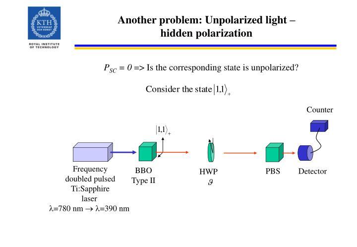 Another problem: Unpolarized light