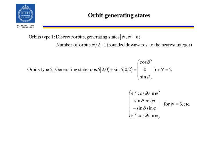 Orbit generating states
