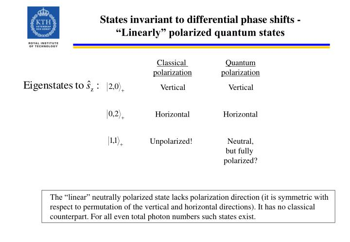 States invariant to differential phase shifts -