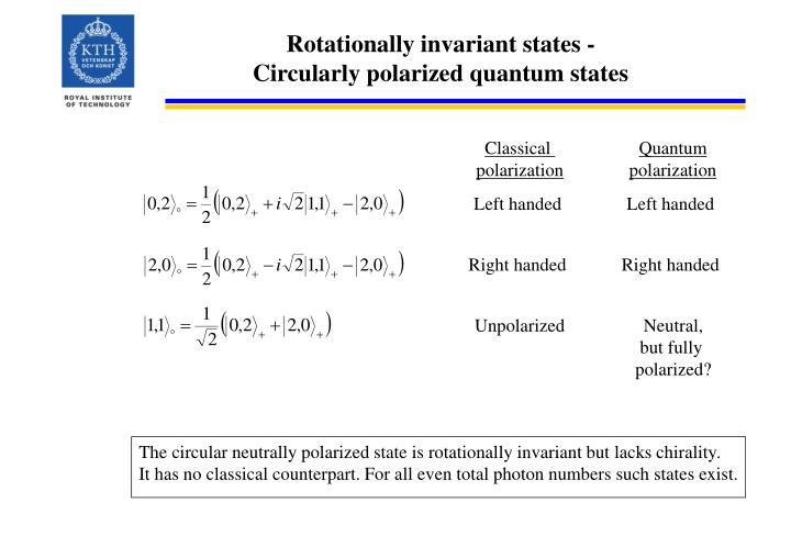 Rotationally invariant states -