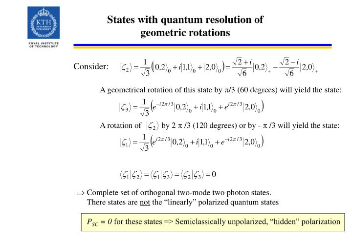 States with quantum resolution of geometric rotations