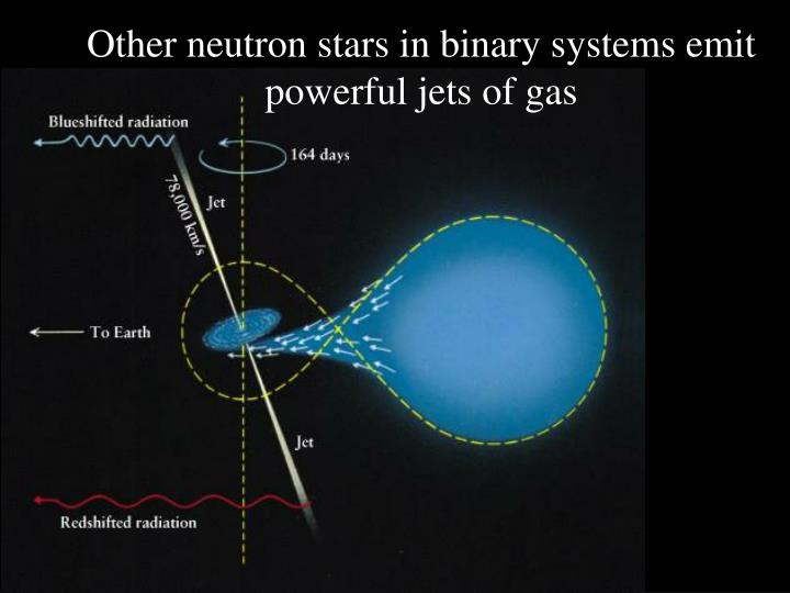 Other neutron stars in binary systems emit powerful jets of gas