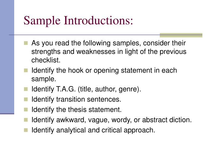 Sample Introductions: