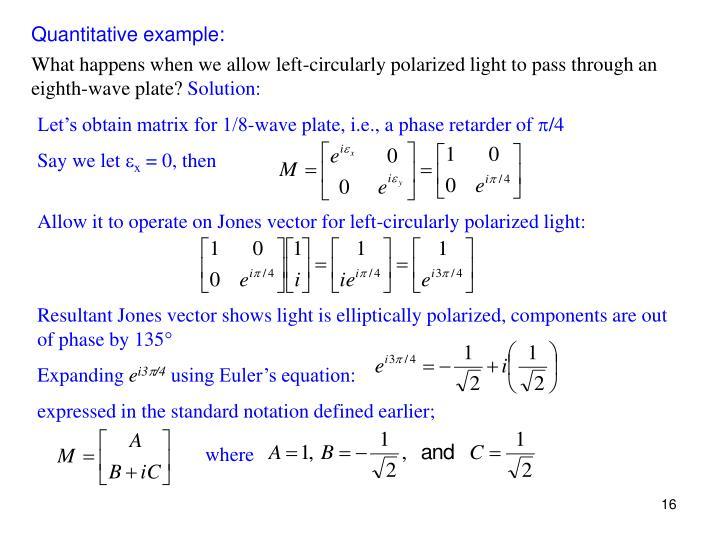 Quantitative example: