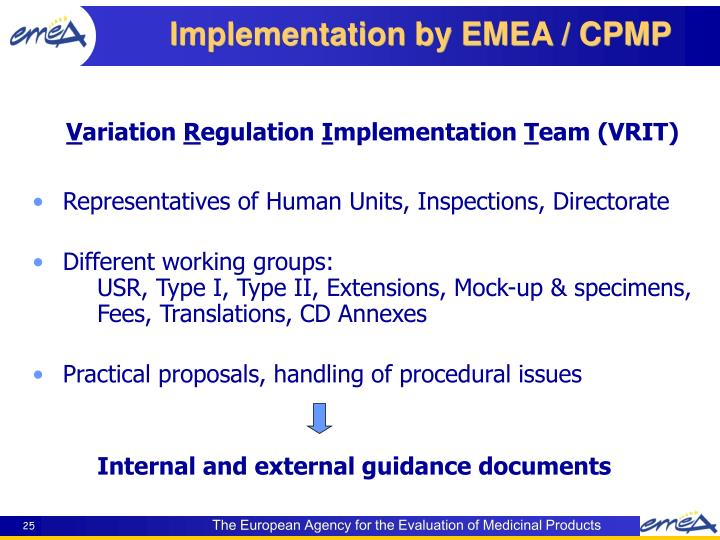 Implementation by EMEA / CPMP