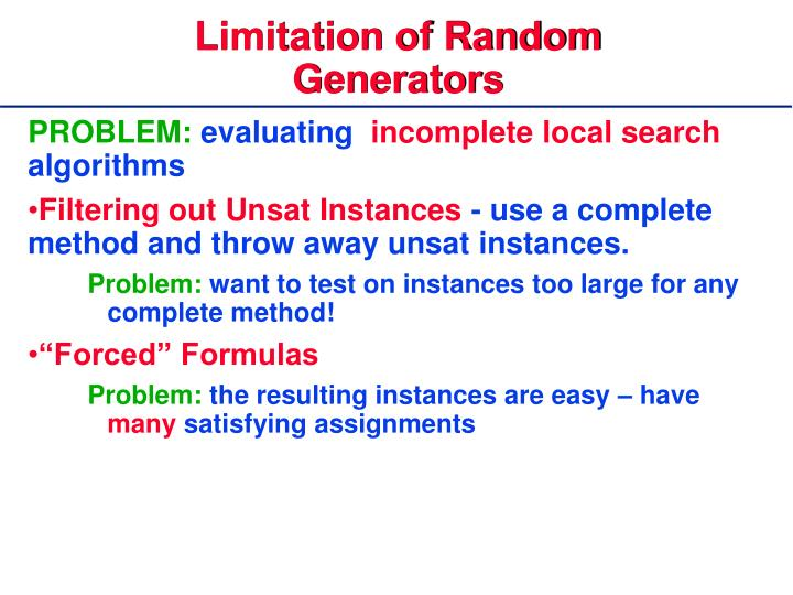 Limitation of Random Generators