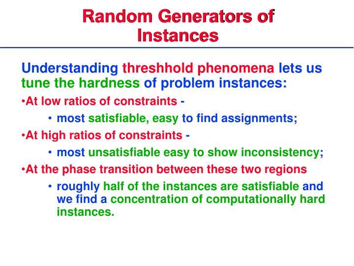 Random Generators of Instances