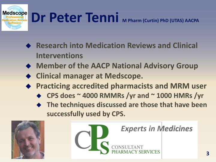 Dr peter tenni m pharm curtin phd utas aacpa