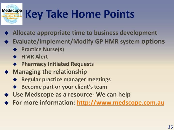 Key Take Home Points