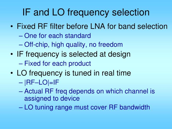 IF and LO frequency selection
