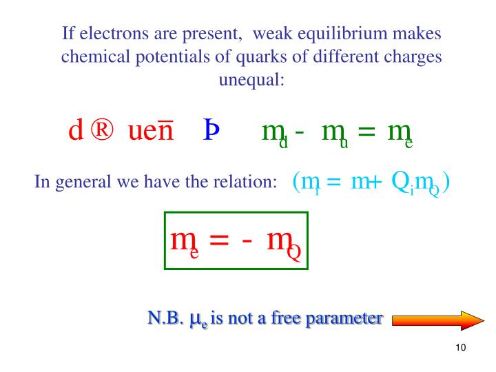 If electrons are present,  weak equilibrium makes chemical potentials of quarks of different charges unequal: