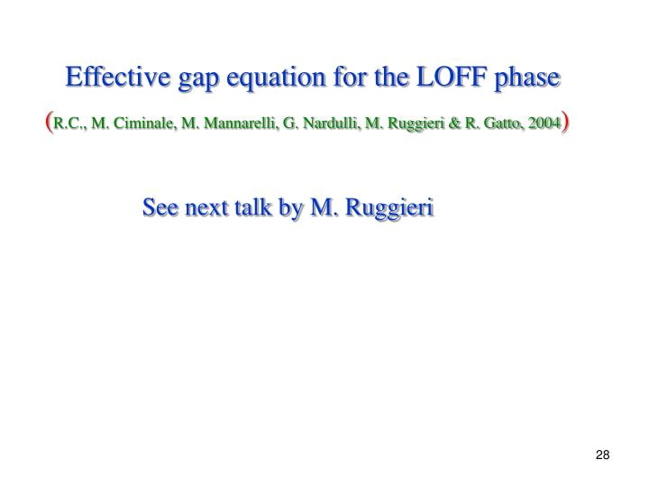 Effective gap equation for the LOFF phase