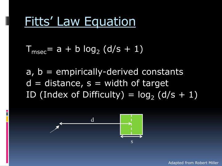 Fitts' Law Equation