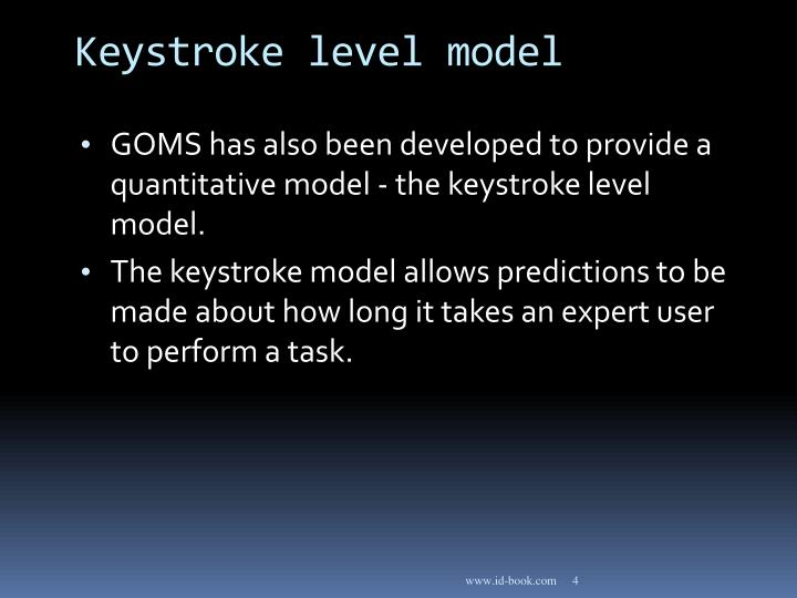 Keystroke level model