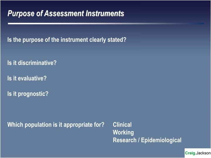 Purpose of Assessment Instruments