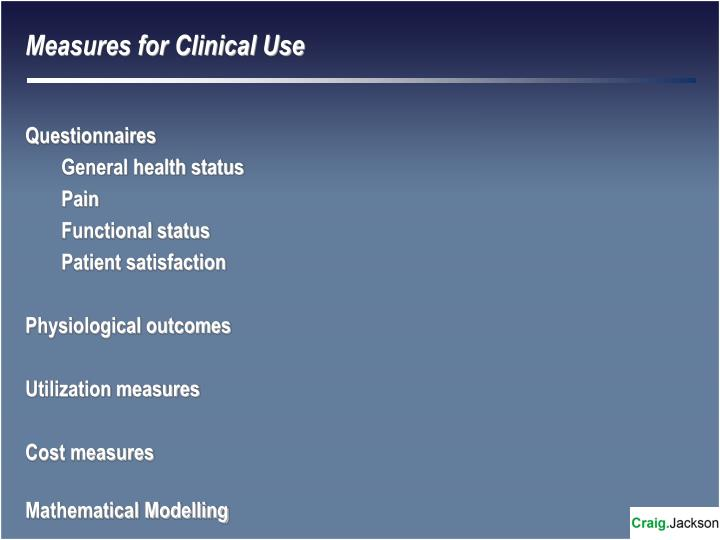 Measures for Clinical Use