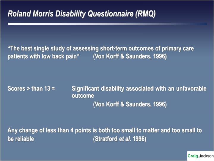 Roland Morris Disability Questionnaire (RMQ)