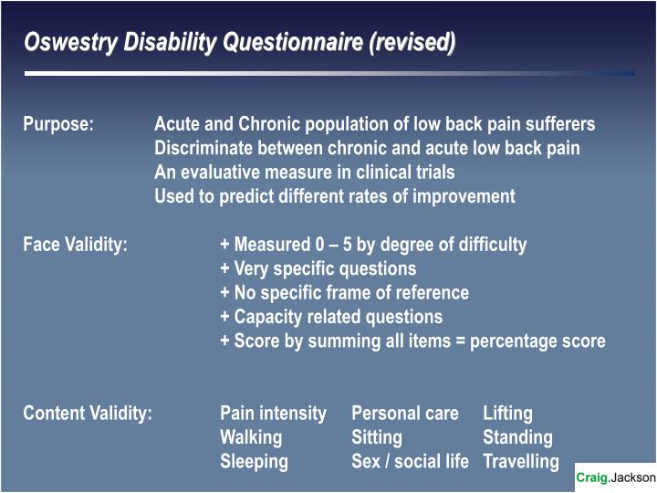 Oswestry Disability Questionnaire (revised)