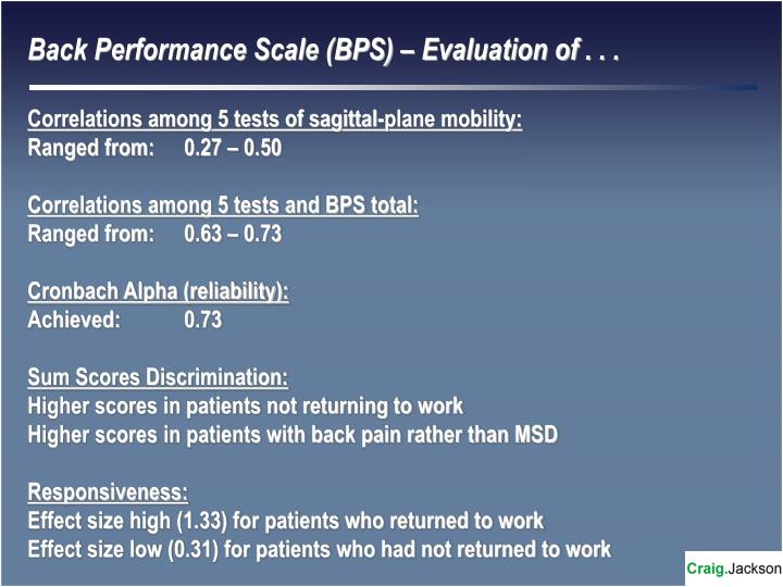 Back Performance Scale (BPS) – Evaluation of . . .