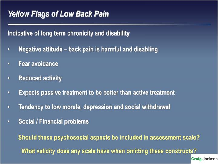 Yellow Flags of Low Back Pain
