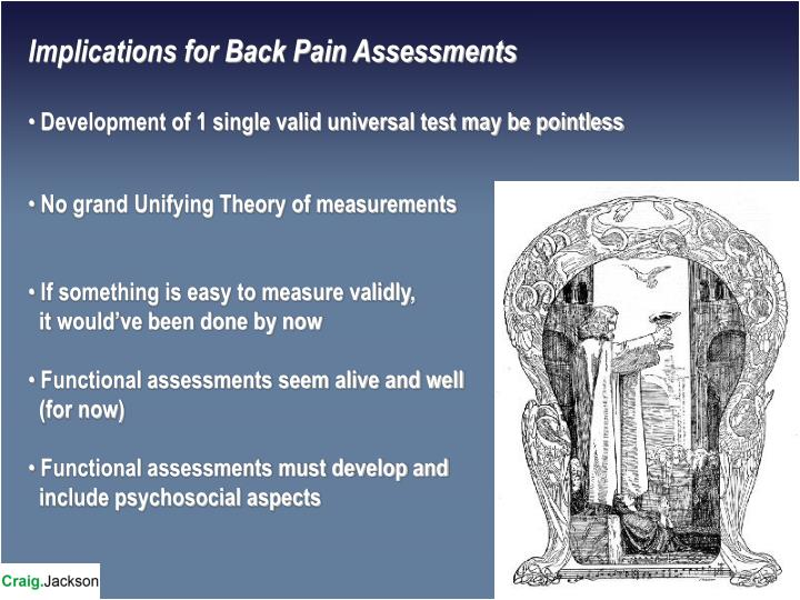 Implications for Back Pain Assessments