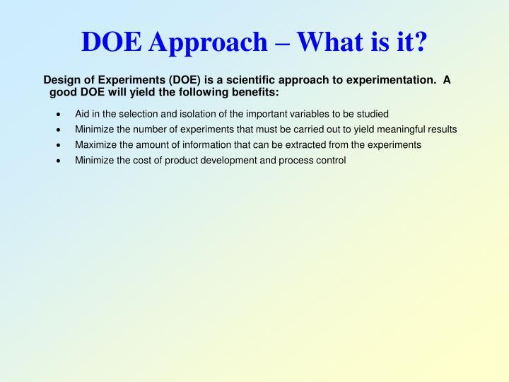 DOE Approach – What is it?
