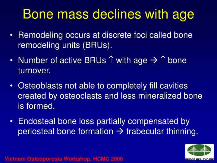 Bone mass declines with age