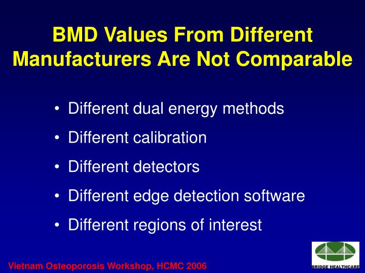 BMD Values From Different Manufacturers Are Not Comparable