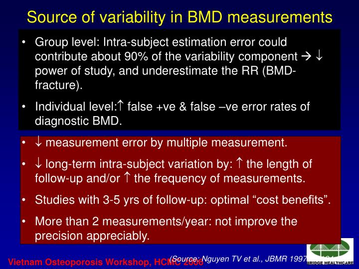 Source of variability in BMD measurements