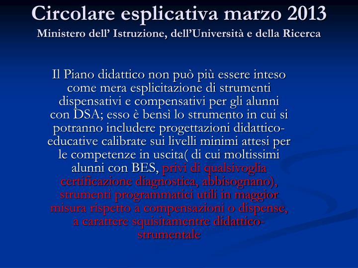 Circolare esplicativa marzo 2013