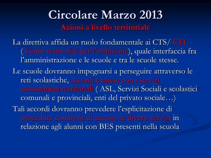 Circolare Marzo 2013