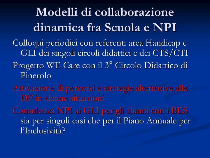 Modelli di collaborazione dinamica fra Scuola e NPI